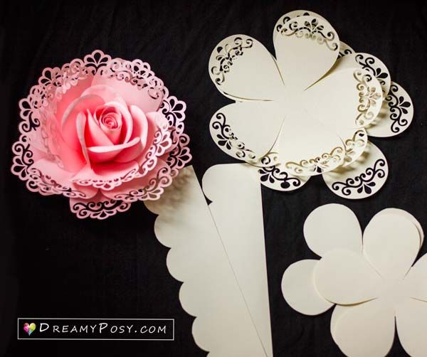 DIY Rose paper flowers tutorial step by step with pictures #paperflowerswedding