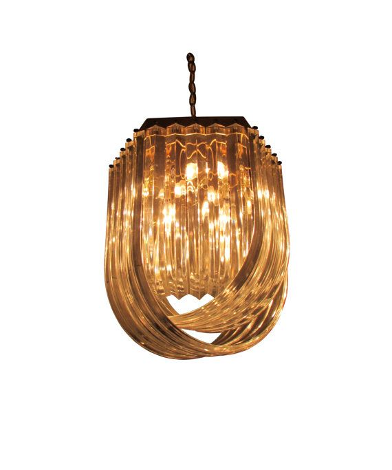 SOLD  Lucite & Brass Ribbon Chandelier by RefineModern on Etsy, $695.00