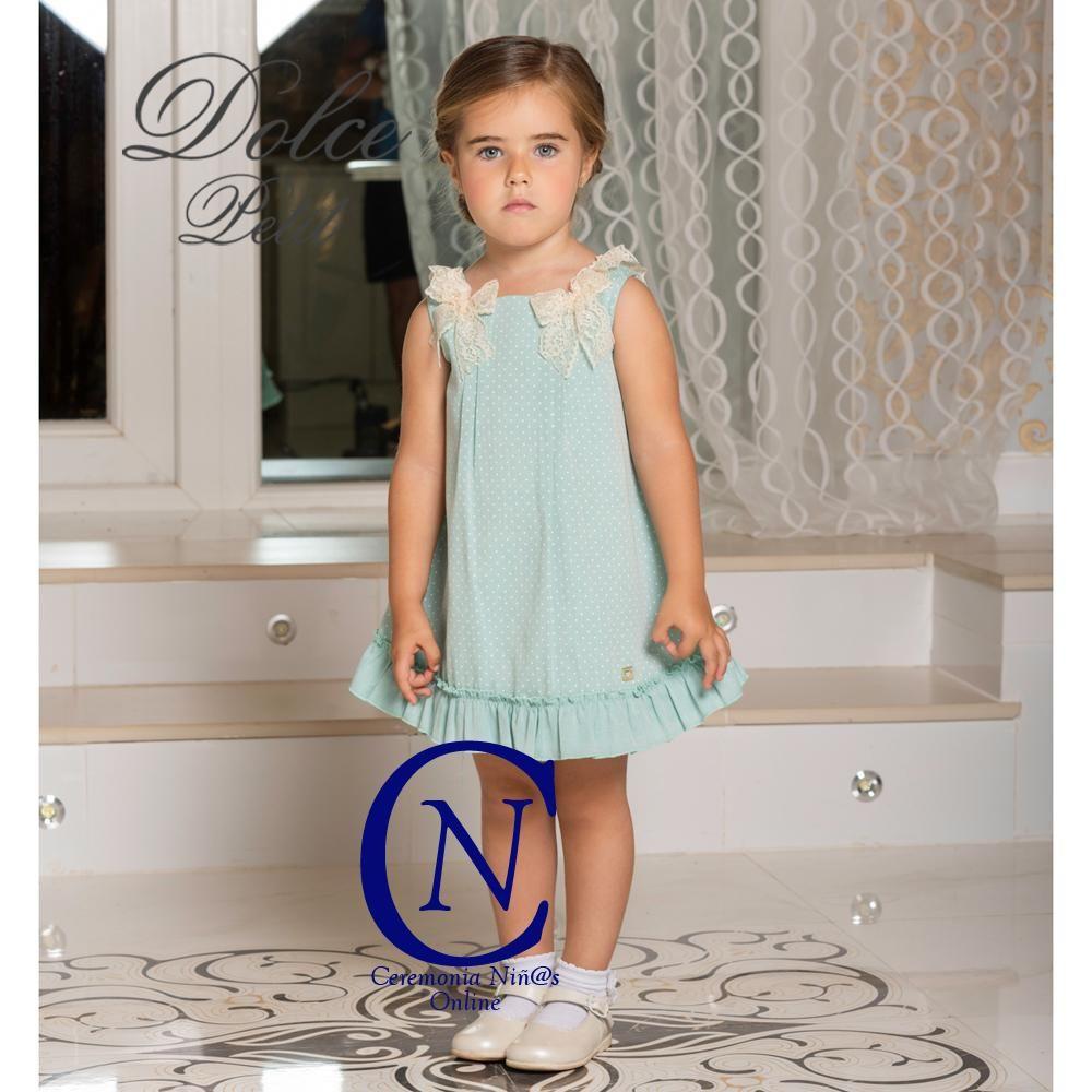 d1d82fd22e Vestido de DOLCE PETIT para niña trapecio verde agua