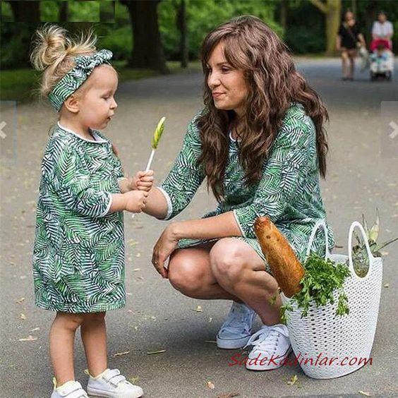 2020 Anne Kız Elbise ve Kıyafet Kombinleri Yeşil Mini Uzun Kollu Yaprak Desenli Elbise | SadeKadınlar, Kıyafet Kombinleri #moda #fashion #fashionblogger #damenmode #mode #damenoutfits #outfits #kombin #annekız #annekızelbiseleri #annekızkıyafetleri #annebebekkombin #kombinleri #kombinönerileri #outfitsoftheday #girl #kıyafetkombinleri #şıkkombinler
