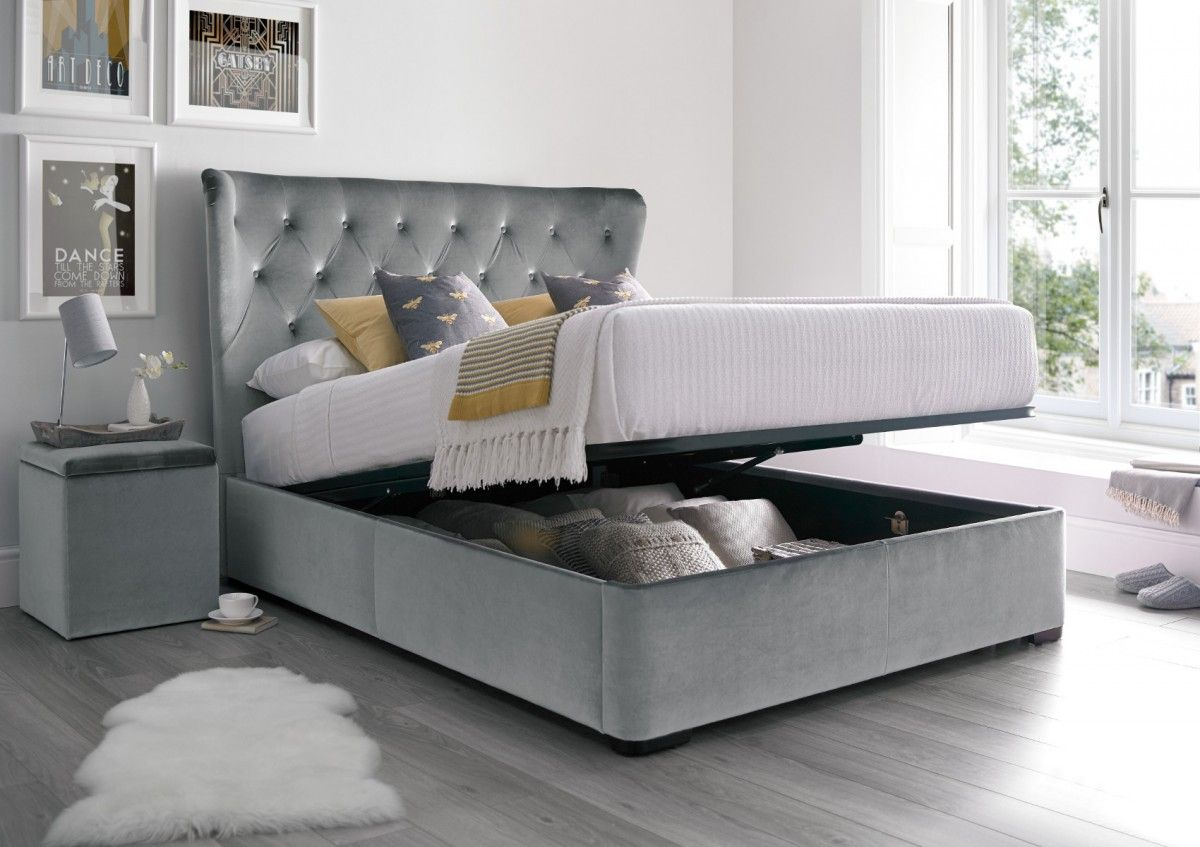 Savannah Upholstered Winged Ottoman Storage Bed Velvet Grey