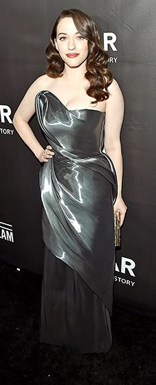 Kat Dennings looked breathtaking in a Rubin Singer column dress crafted from a glossy, oil slick fabric.