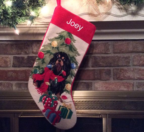black tan cavalier king charles christmas stocking personalized christmas stockings cavalier stocking dog stocking christmas stocking - Dog Stockings For Christmas
