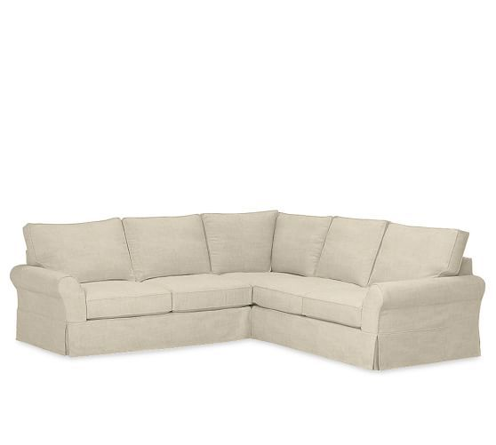 PB Comfort Slipcovered 3-Piece L-Shaped Sectional with Box Edge Cushions in Oatmeal Textured Twill | Pottery Barn