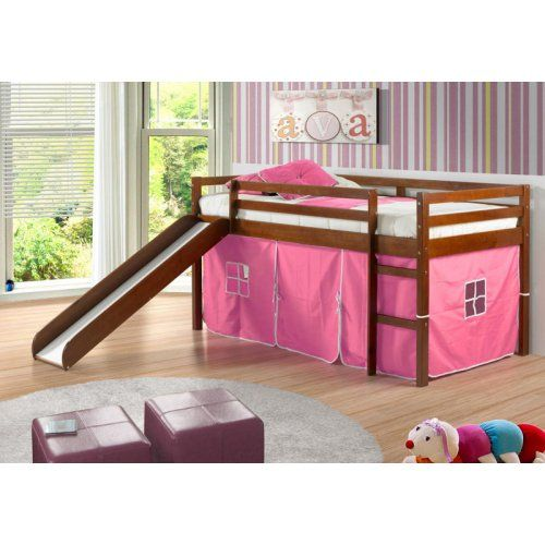 Donco Kids Twin Loft Tent Bed With Slide Light Espresso Loft