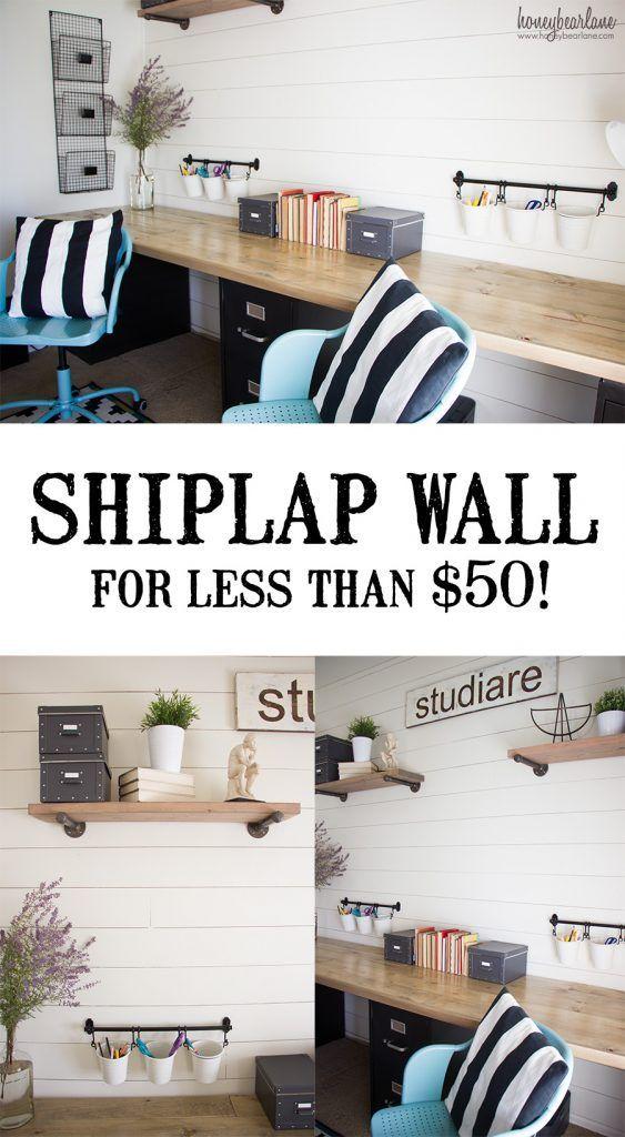 Shiplap Wall for Under $50 -   23 farmhouse style office ideas