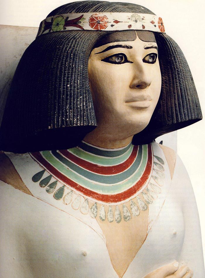 Detail of sculpture Nofret taken from Egyptian Treasures from the collection of the Egyptian Museum in Cairo,