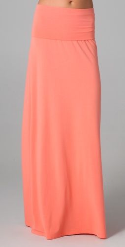 Lovely peach maxi skirt for spring.