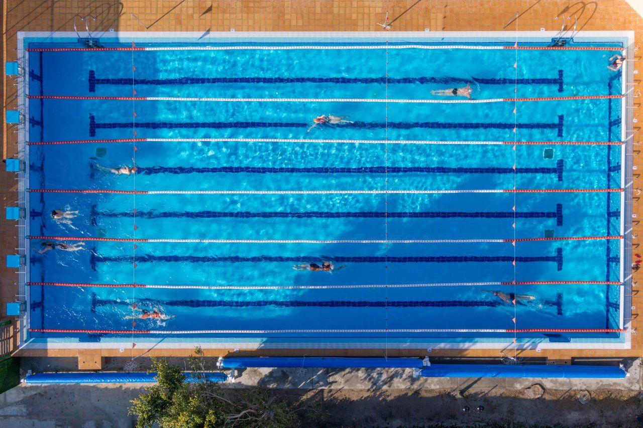 Birdseye Pool Olympics Olympic Swimming Top View