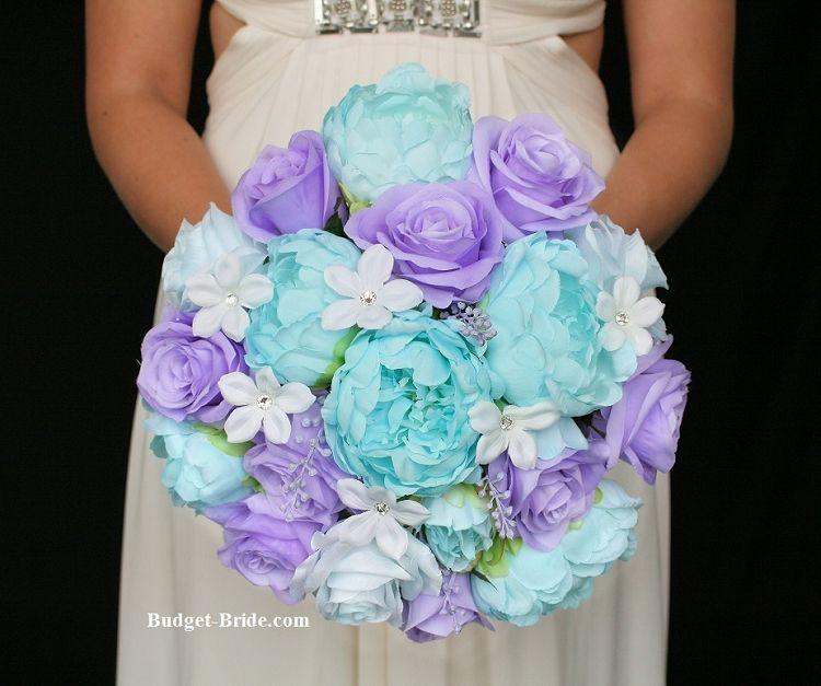 Tiffany Blue And Lavender Wedding Flowers Stunning Peonies Bridal Bouquet Silk