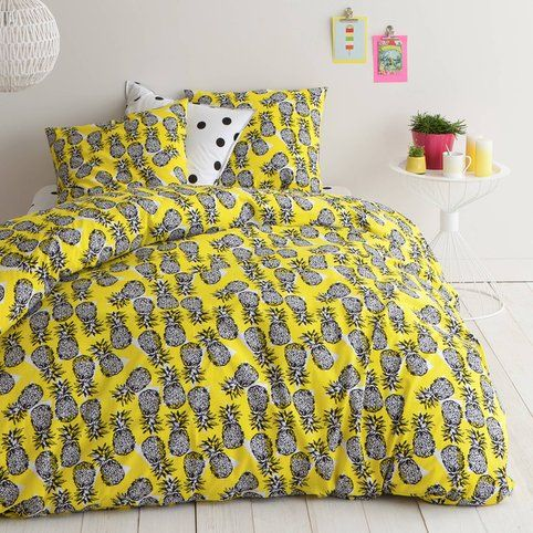 parure housse de couette 1 ou 2 taies coton imprim ananas picota imprim vue 1 v tements. Black Bedroom Furniture Sets. Home Design Ideas