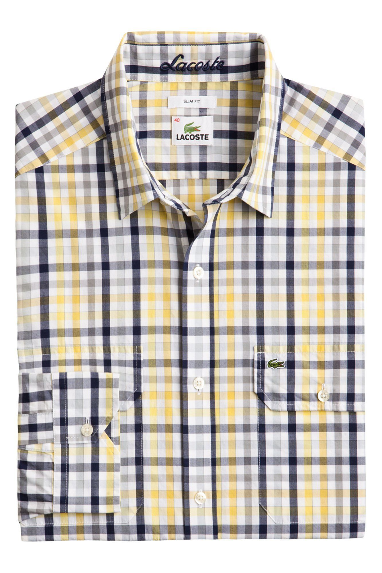 0a07e068 Lacoste Long Sleeve Mini Plaid Poplin Shirt With Double Pockets ...
