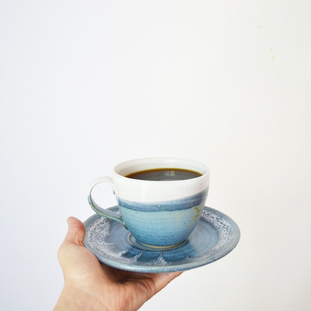 We're in love with this series inspired by the the California coastline. Porcelain cup and saucer setOnly 1 leftHand thrown in our Los Angeles studio