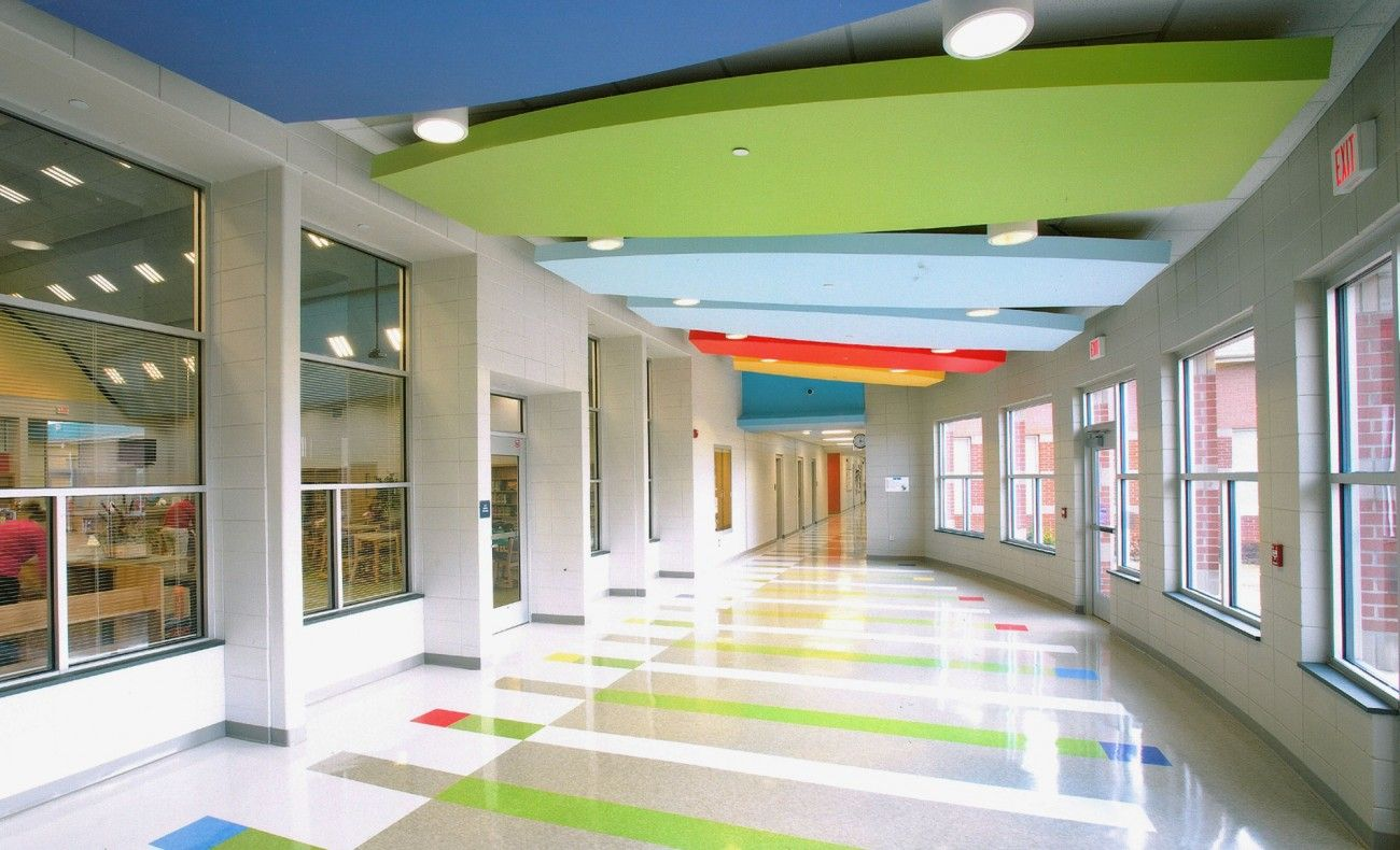 A Great Design For An Elementary Cafeteria With The Bright Colors Keeping Mode Happy And Joyful Kids
