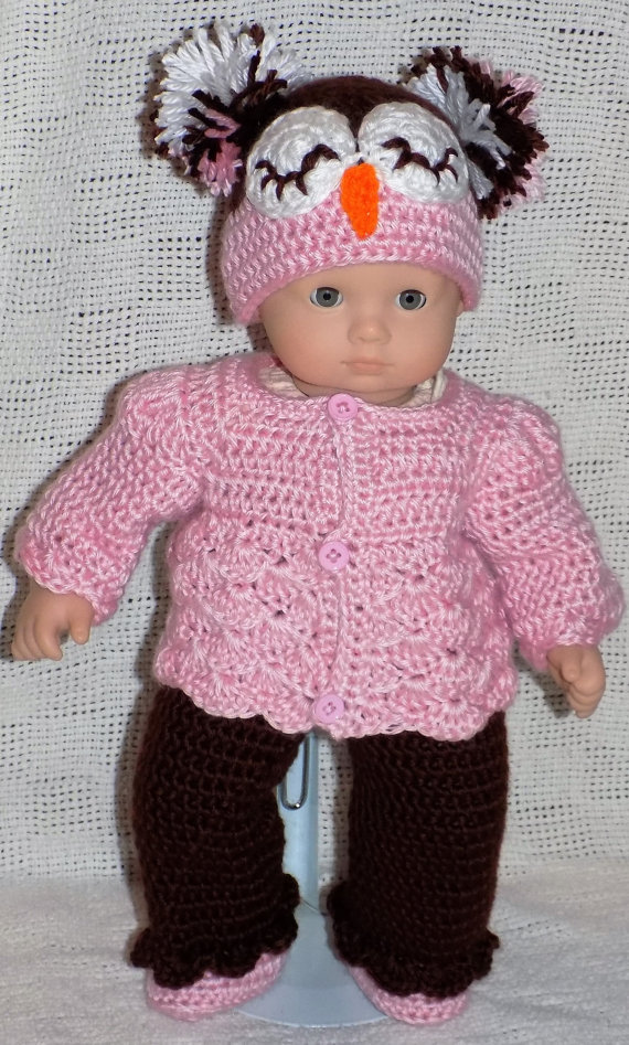 Bitty Baby Crochet Patterns- Owl Hat Outfit- PDF download | Pinterest