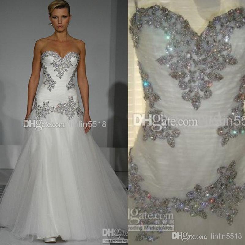 Cheap Bling Bling Beaded Crystal Tulle Wedding Dress Sweetheart ...