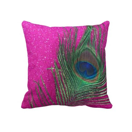 Glittery Pink Peacock Feather Still Life Throw Pillow Zazzle Com