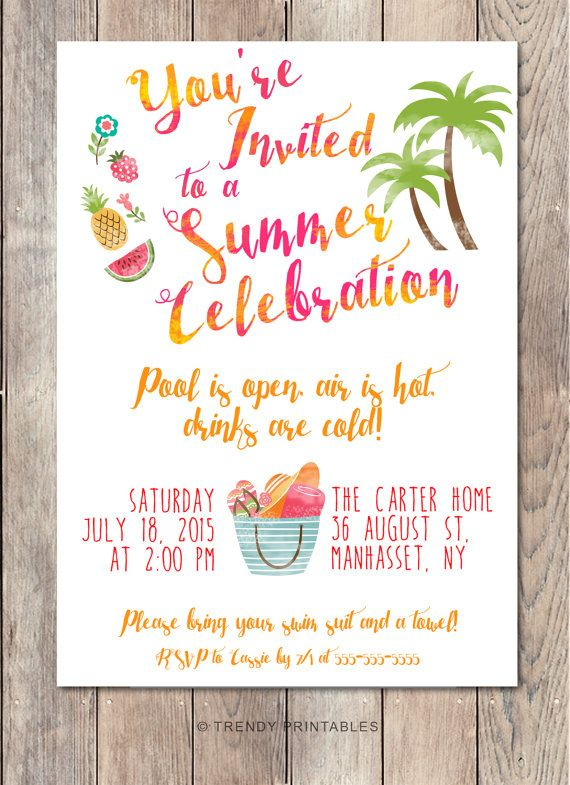 Pool Party Invitation, Summer Party Invitation, Back Yard Party