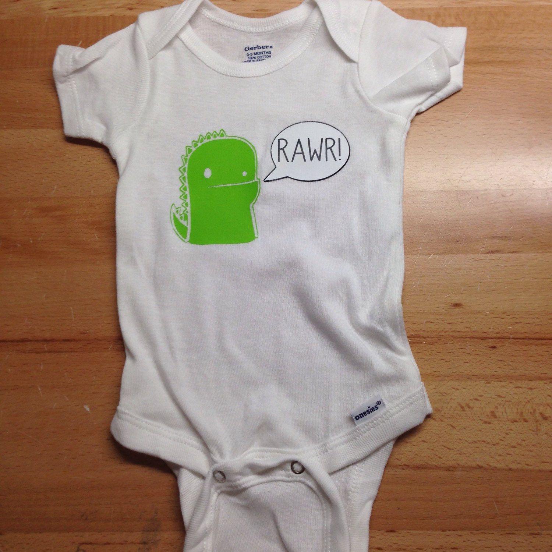 Baby dinosaur Trex Rawr onesie by CrunchyCuts on Etsy