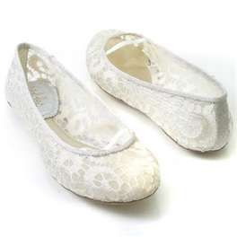 8190cdd18da5 This unique simple white lace flat bridal shoes would be great for a beach  wedding in