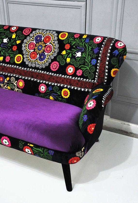 Patchwork sofa with Suzani fabrics - 3 Patchwork, Fabrics and