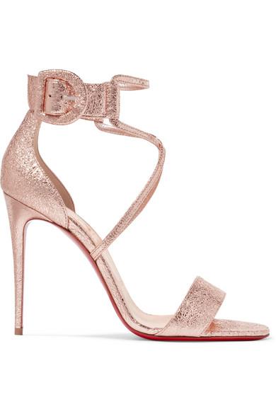 4bc95b8dd3b9 Christian Louboutin - Choca 100 Metallic Cracked-leather Sandals - Gold