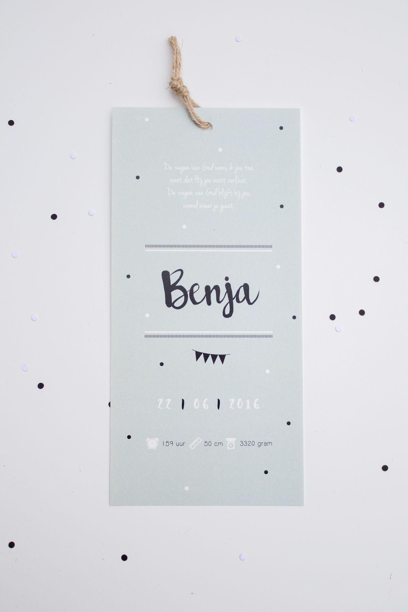 Langwerpig geboortekaartje van benja in mintgroen zwart en wit ontwerp door - Bebe ontwerp ...