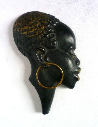 ART DECO Vintage brass AFRICAN Nubian WALL MASK BUST. Hagenauer Style Austria | eBay