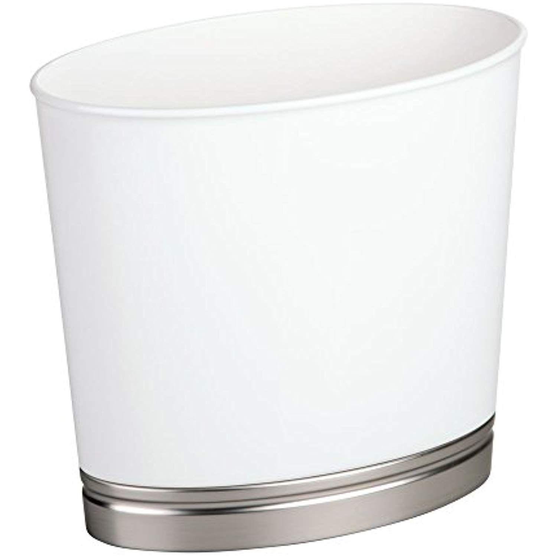Interdesign Oval Waste Basket Trash Can For Bathroom Kitchen Office White Brushed Nickel York Br Bathroom Accessories Sets Trash Can Bathroom Accessory Sets