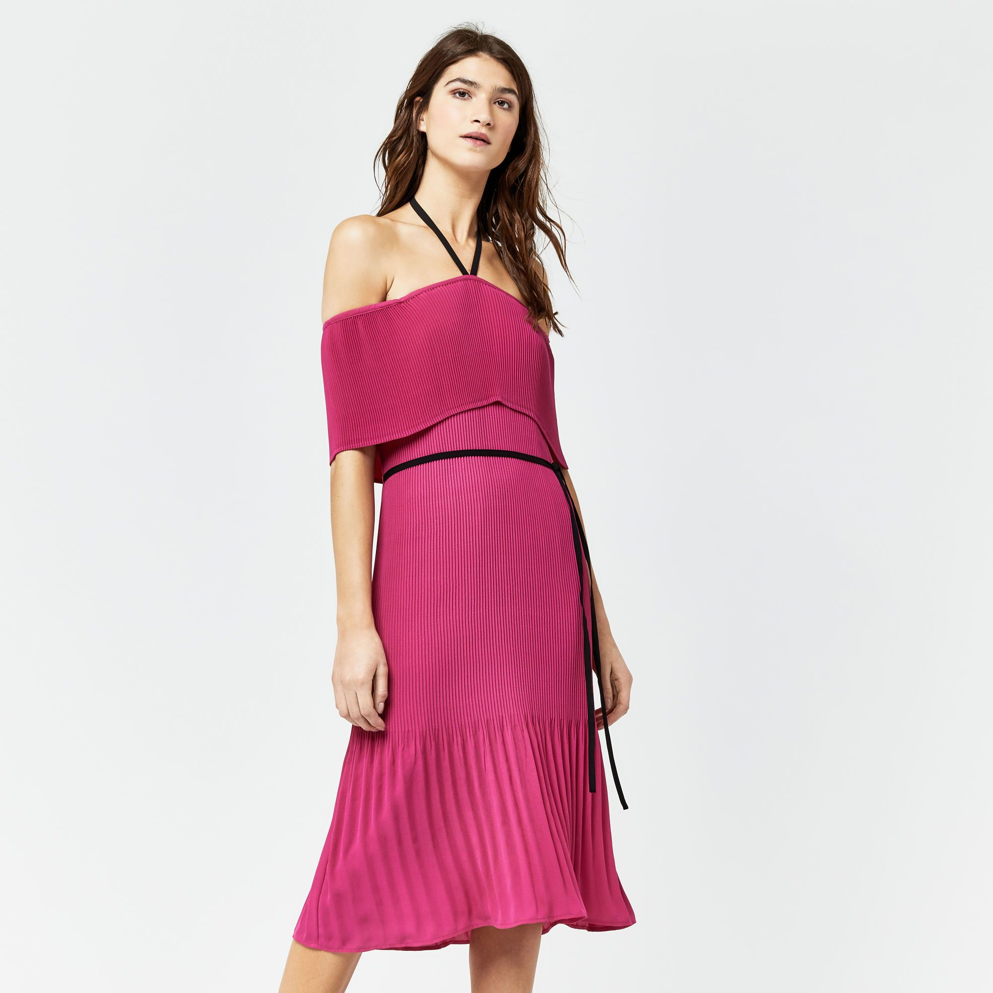 Warehouse, OFF SHOULDER TIE NECK DRESS Bright Pink 1 | Dress moi ...