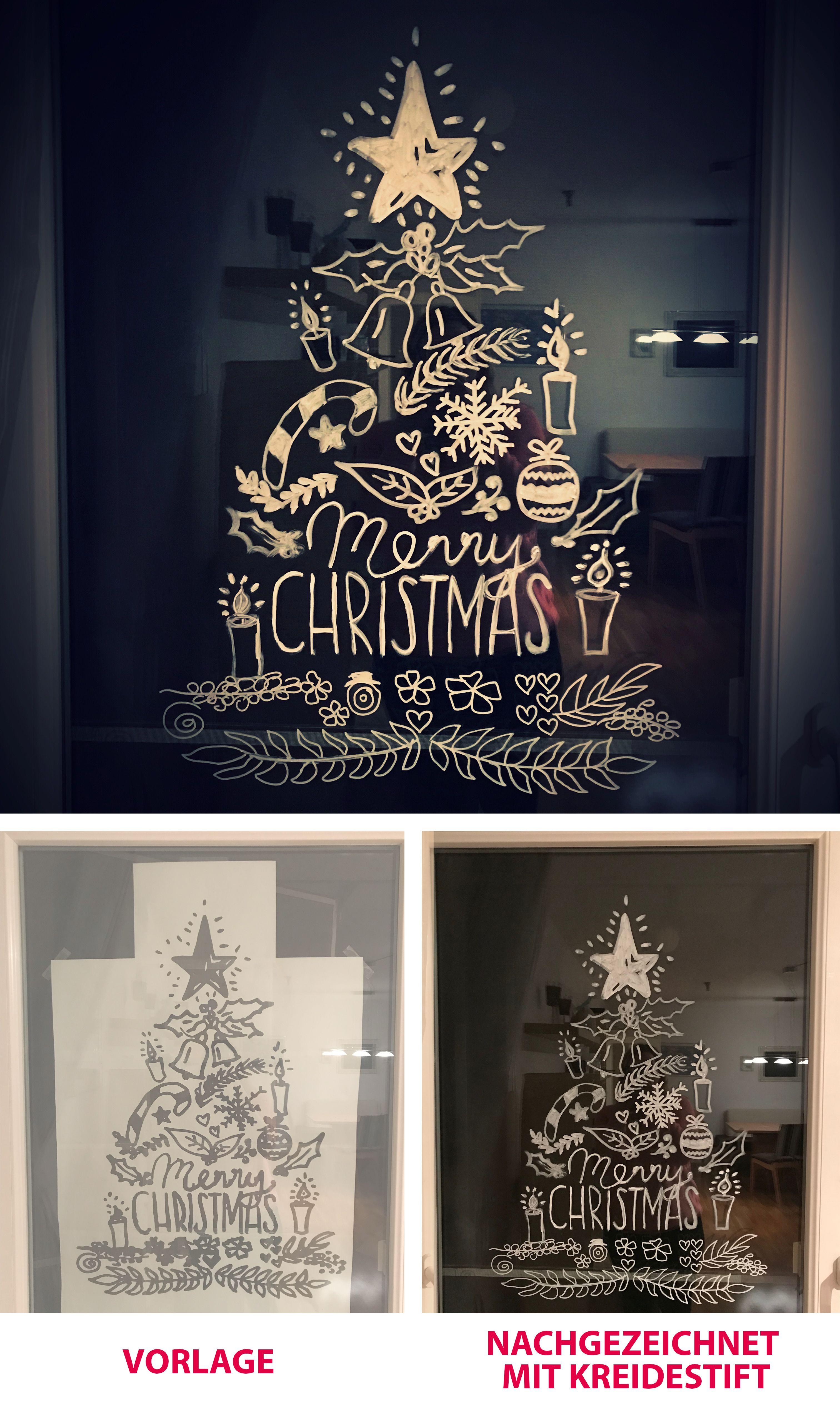 Xmas Tree Kreidestift Chalk Marker Window Fenster Weihnachten Deko Weihnachten Fenster Fensterbilder Weihnachten Weihnachtsideen