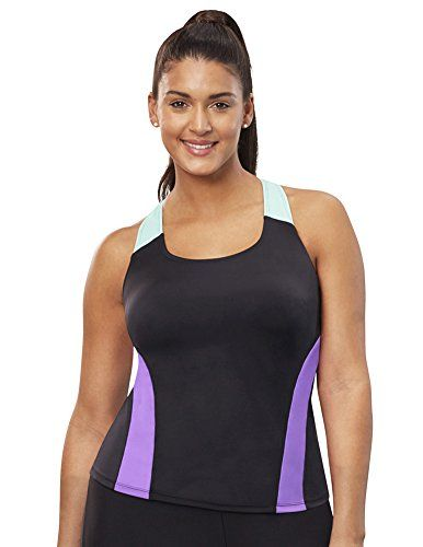 ab908db470843 Aquabelle Womens Plus Size Chlorine Resistant Xtra Life Lycra Relay  Racerback Top 18 Multi ** See this great product.Note:It is affiliate link  to Amazon.
