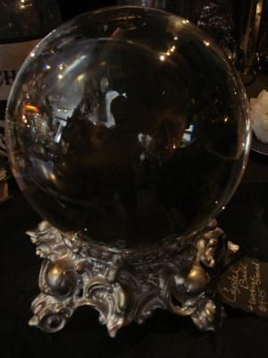 Crystal Ball w/ Ornate Antique Stand ~ Gothic Rose Antiques