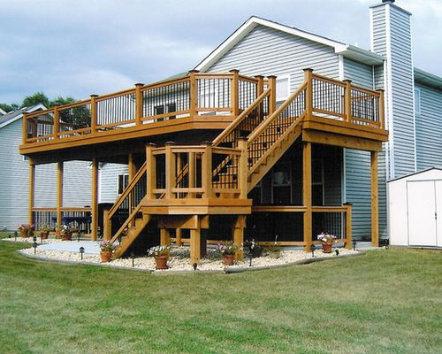 Two story deck home design ideas pictures remodel and decor also best house images in exterior homes cottage decks rh pinterest