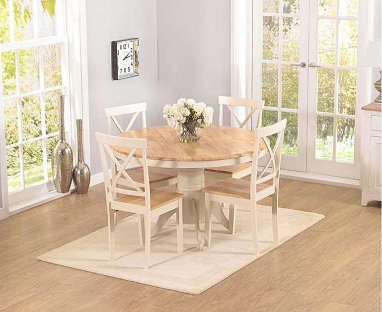 Epsom Cream 120cm Round Pedestal Dining Table Set With Chairs Round Pedestal Dining Table Shabby Chic Kitchen Chairs Pedestal Dining Table