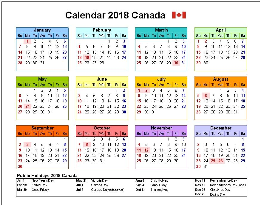 canada calendar 2018