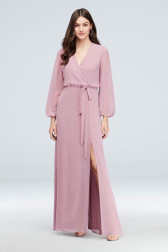 Long Sleeve Chiffon Faux Wrap Dress Style W60041, Slate Blue
