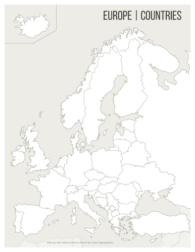 Blank printable Europe countries map (pdf) and Geography games ...