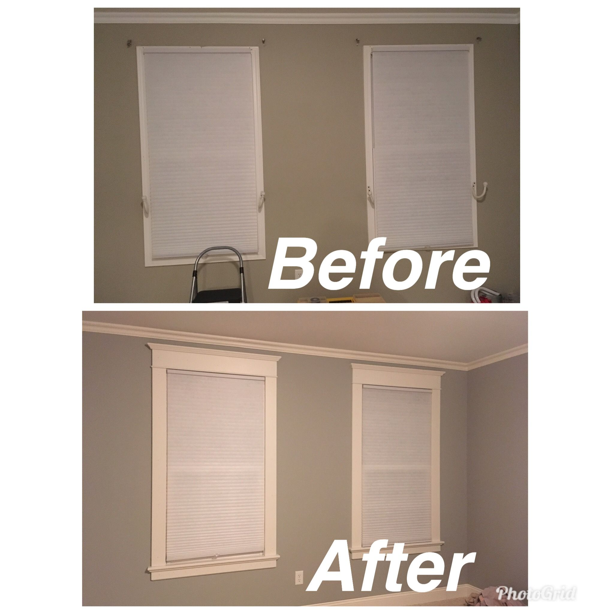 Window Molding Before And After Window Trim Remodel Manufactured Home Remodel Home Remodeling Moldings And Trim