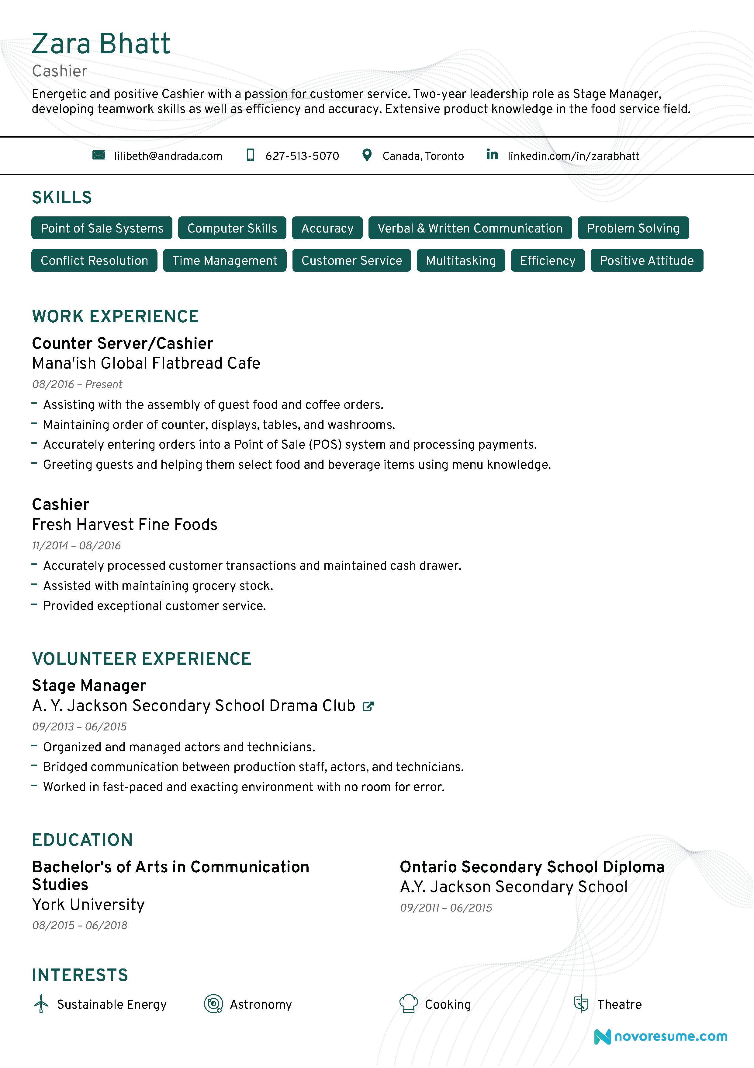Objective Resume Examples For Cashier