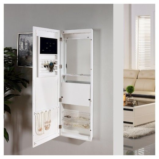 Danya B Over The Door Jewelry And Makeup Full Size Cabinet Mirror With Interior Drop Down Shelf White