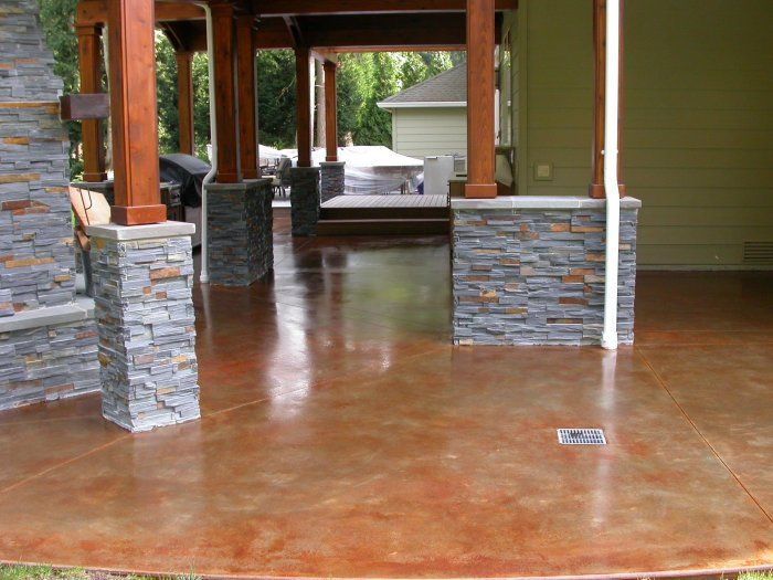 Exterior concrete patio staining project by NW Concrete using ...