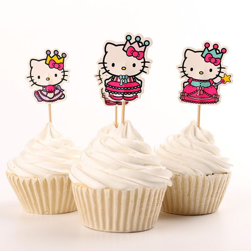 24pcs Princess Hello Kitty Party Supplies Cartoon Cupcake Toppers Pick Kid Girl Birthday Party Decorations -in Festive & Party Supplies from Home & Garden on Aliexpress.com | Alibaba Group