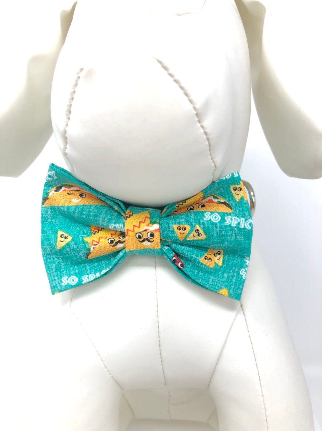 Taco Tuesday Hot and Spicy Chips and Salsa Sombrero Hat and Tacos Aqua Green Yellow and Red Bow Ties and Collars for Dogs, Free ship in USA #pictureplacemeant