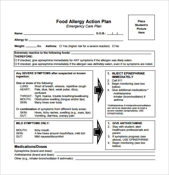 10 Allergy Action Plan Templates Doc Pdf Food