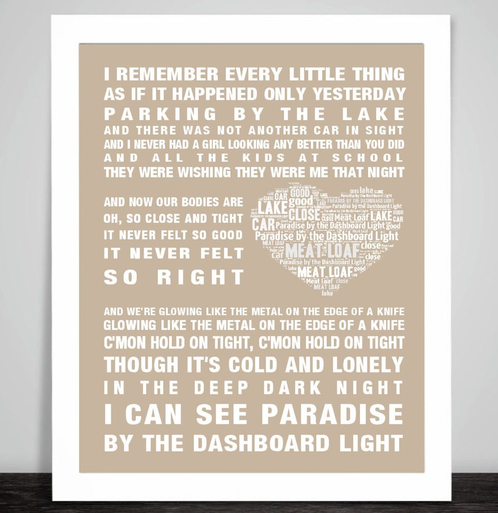 Meat loaf paradise by the dashboard light music love song lyric meat loaf paradise by the dashboard light music love song lyric word art print stopboris Images