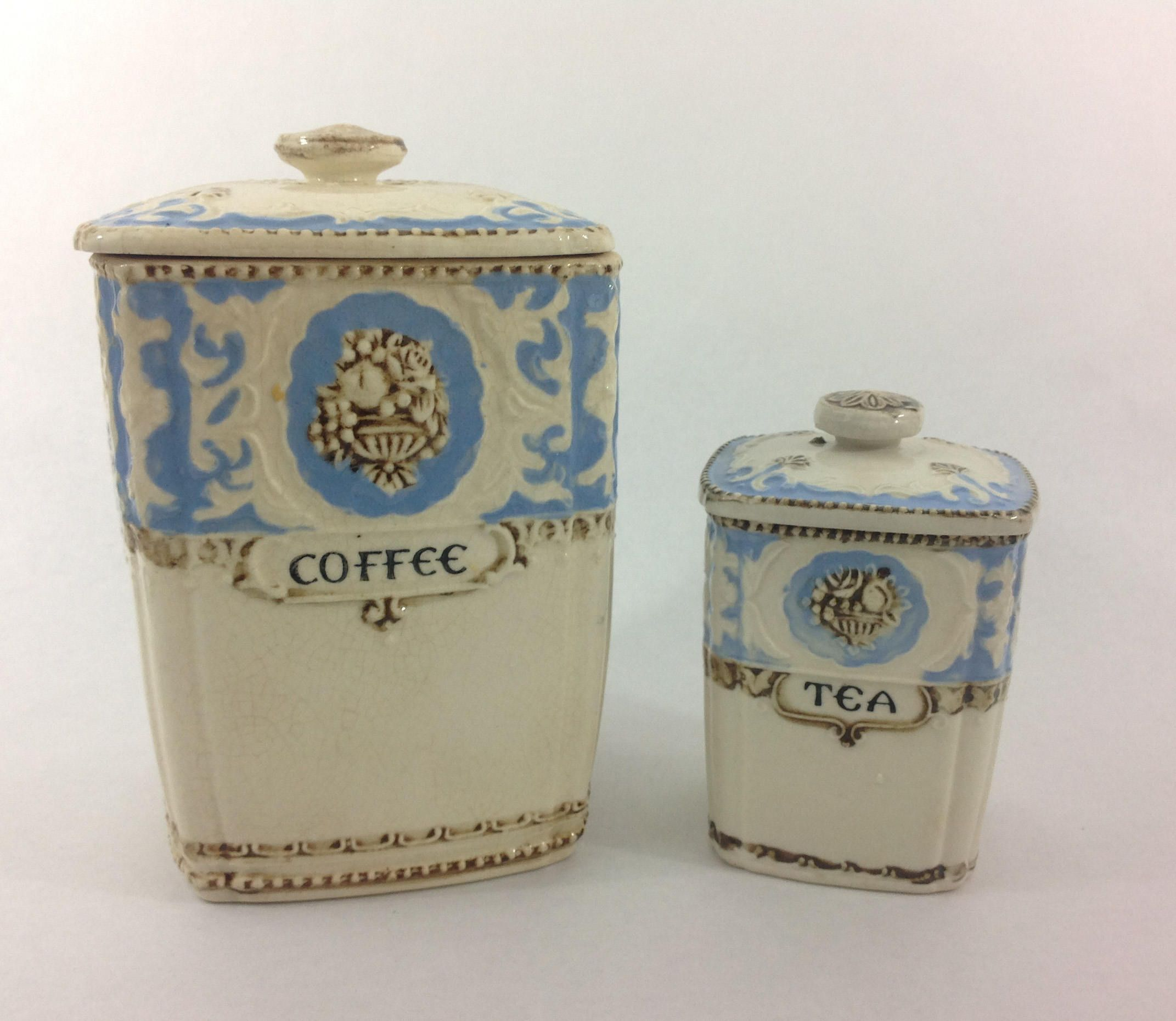 Ceramic Tea and Coffee Canister Set White And Blue Made in Japan ...