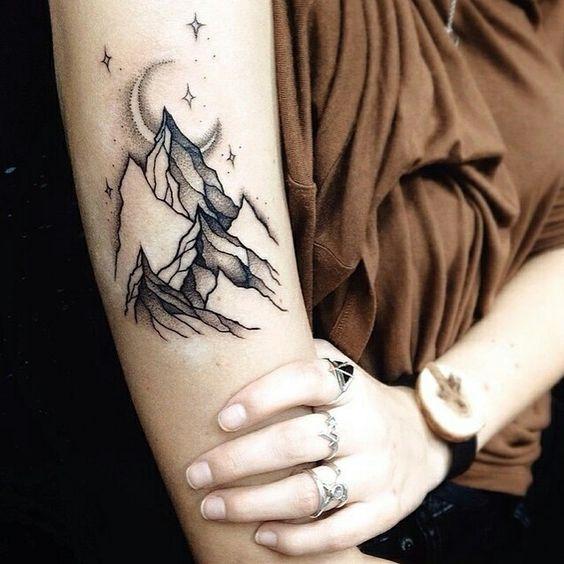 Mountains Tattoo Arm Tattoo Moon Tattoo Traditional Style Tattoo Traditional Style Tattoo Tattoos Arm Tattoo