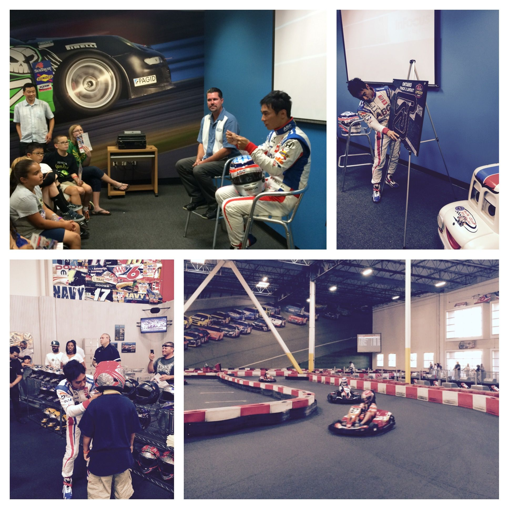 IndyCar driver, Takuma Sato, visits K1 Speed in Ontario