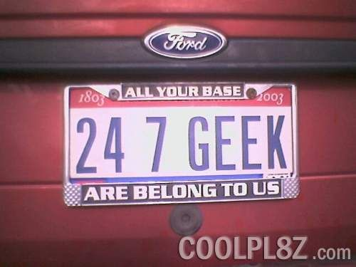 plaques d immatriculation 24 7 geek as seen on the vanity license plate picture gallery coolpl8z com
